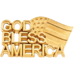10k Gold God Bless America Lapel Pin 11.5x20.5mm