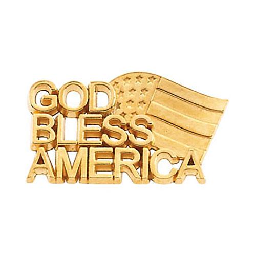 14k Gold God Bless America Lapel Pin 11.5x20.5mm