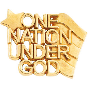 10k Yellow Gold One Nation Under God Lapel Pin