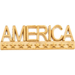 10k Gold America Lapel Pin 7.5x22.5mm