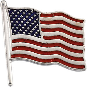 14kt White Gold American Flag Lapel Pin 17.5x17mm