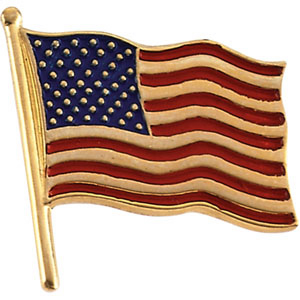 14kt Yellow Gold American Flag Lapel Pin 17.5x17mm