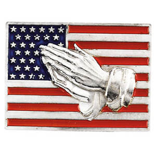 14kt White Gold American Flag Praying Hands Lapel Pin