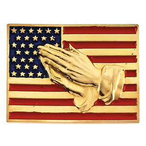 14kt Yellow Gold American Flag Praying Hands Lapel Pin