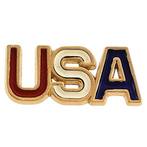 14k Gold Enameled USA Lapel Pin