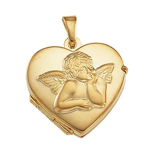 14kt Yellow Gold Small Raphael Angel Heart Locket