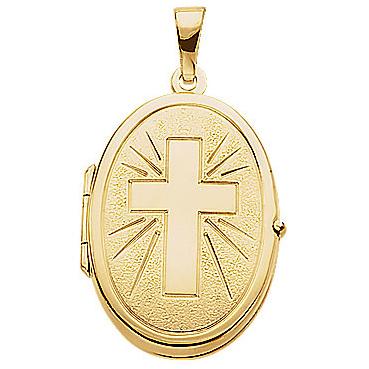 14kt Yellow Gold 7/8in Oval Cross Locket