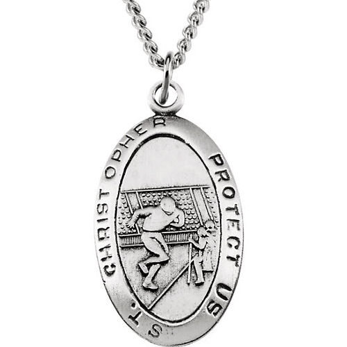 Sterling Silver St. Christopher Football Medal and 24in Chain
