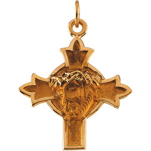 14kt Yellow Gold 7/8in Face of Jesus Cross