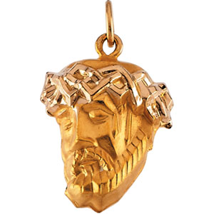 14kt Yellow Gold 1in Large Face of Jesus Pendant