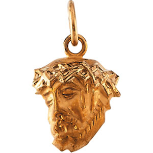 14kt Yellow Gold 1/2in Small Face of Jesus Pendant