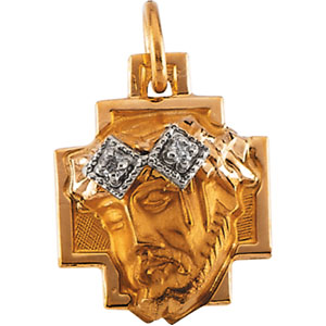 14k Gold 1/2in Face of Jesus Pendant with Diamonds