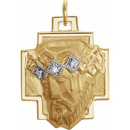 Face of Jesus with Diamonds 18.5x16.5mm