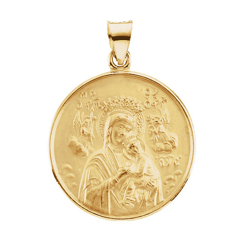 18kt Yellow Gold 1in Lady of Perpetual Help Medal