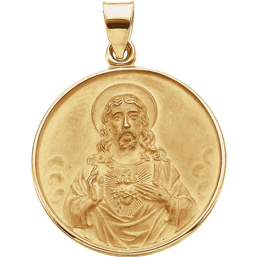 18kt Yellow Gold 1in Sacred Heart of Jesus Medal