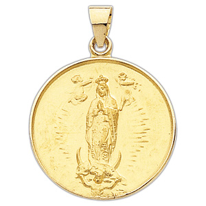 18kt Yellow Gold 1/2in Lady of Guadalupe Medal