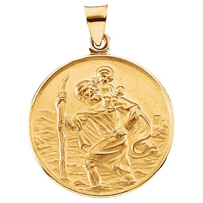 18kt Yellow Gold 1/2in Round St. Christopher Medal