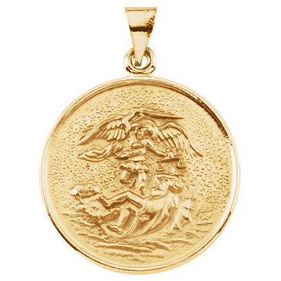 18kt Yellow Gold 1in Round St. Michael Medal