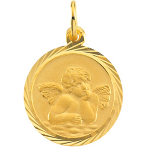 14kt Yellow Gold 14mm Fancy Raphael Angel Charm