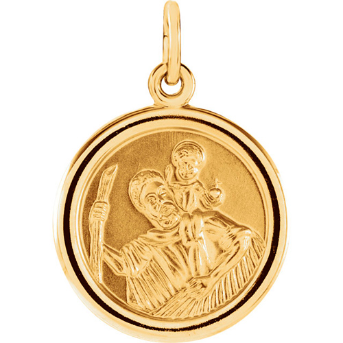 14kt Yellow Gold 18mm Round Ridged St. Christopher Medal