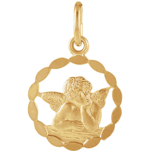 14kt Yellow Gold 1/2in Cut-out Raphael Angel Pendant with Wavy Border