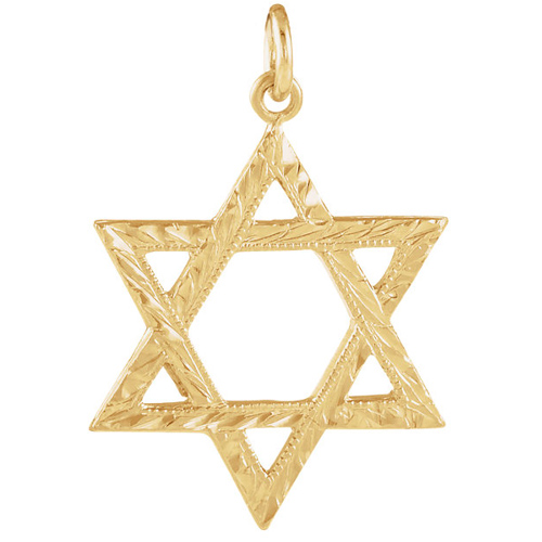 14kt Yellow Gold 3/4in Textured Star of David Pendant