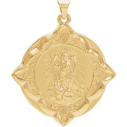 14kt Yellow Gold 1 1/4in Fancy St. Raphael Medal
