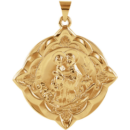 14kt Yellow Gold 1 1/4in St. Anthony Medal