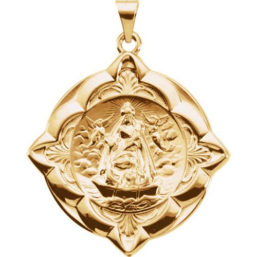 14kt Yellow Gold 1 1/4in Caridad Del Cobre Medal
