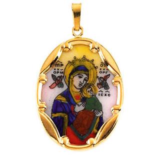 14k Lady of Perpetual Help Medal 25x19.5mm