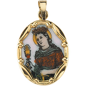 14kt Yellow Gold St. Barbara 13mm Enamel Porcelain Medal