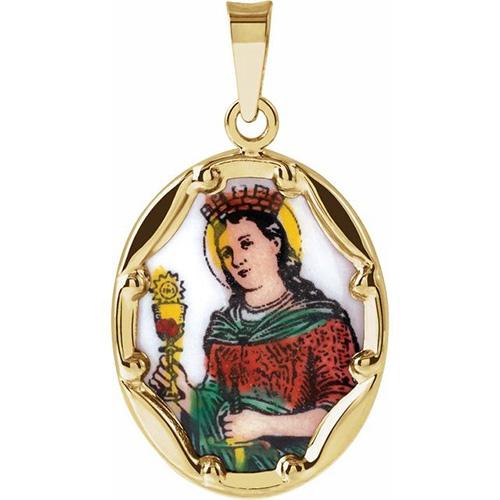 14kt Yellow Gold St. Barbara 13mm Enamel Porcelain Medal