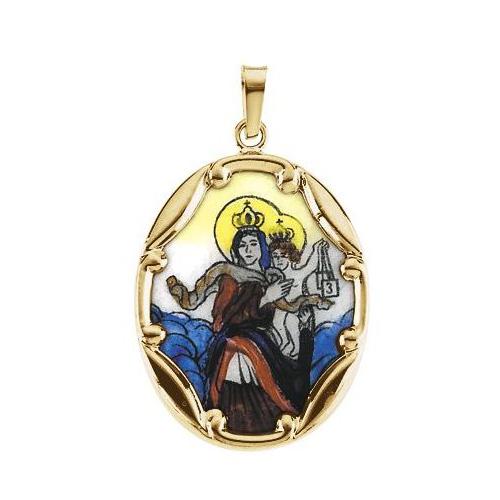 14kt Yellow Gold Porcelain 1in Scapular Medal