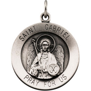 Sterling Silver 18.5mm St. Gabriel Medal & 18in Chain