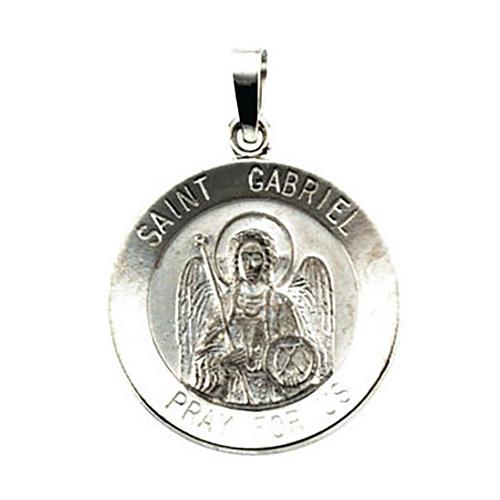 14kt White Gold 18mm St. Gabriel Medal