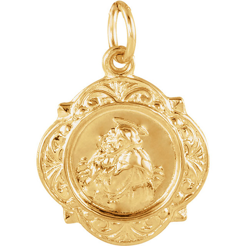 14k Yellow Gold St. Anthony Shield Charm 1/2in