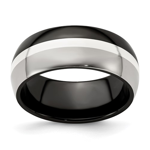 Edward Mirell 9mm Black Titanium Sterling Silver Tuxedo Ring