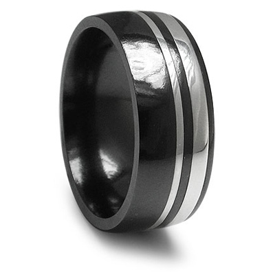 Black Titanium and Sterling Silver 9mm Wellington Ring