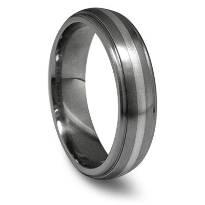 Edward Mirell 6mm Titanium Wedding Band with Sterling Silver Inlay