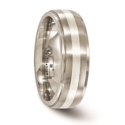Edward Mirell 7mm Titanium Band with Sterling Silver Inlay