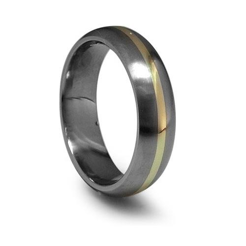 Edward Mirell 6mm Titanium Wedding Band with 14kt Gold Inlay