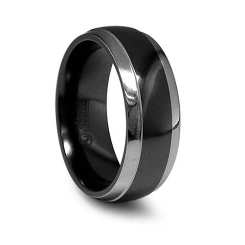 Edward Mirell 8mm Black Titanium Wedding Band Gray Edges