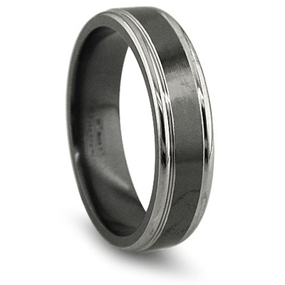 Edward Mirell 6.5mm Black Titanium Ring with Gray Borders