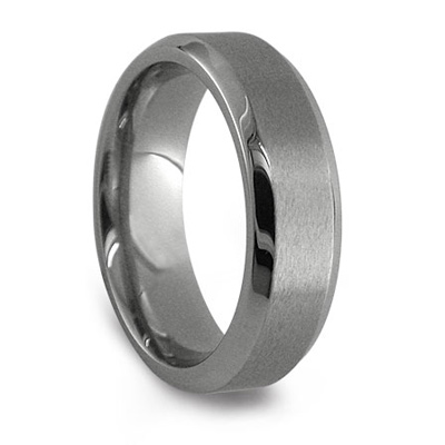 Edward Mirell 7mm Titanium Wedding Band with Beveled Edges