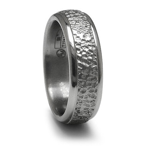 Edward Mirell 7mm Titanium Wedding Band with Hammered Finish