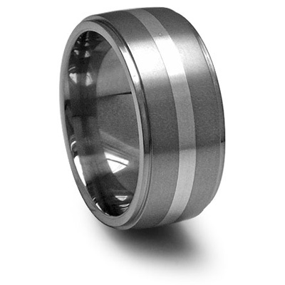 Edward Mirell 10mm Titanium Band with Sterling Silver