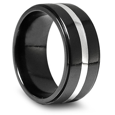 10mm Black Titanium Wedding Band with Sterling Silver Inlay