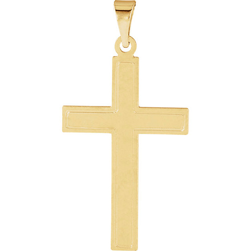 14kt Yellow Gold Ridged Cross 28x18mm