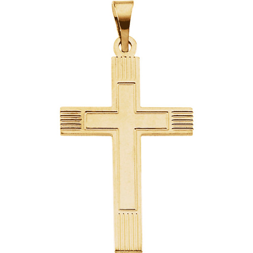14kt Yellow Gold 22mm Cross with Lines