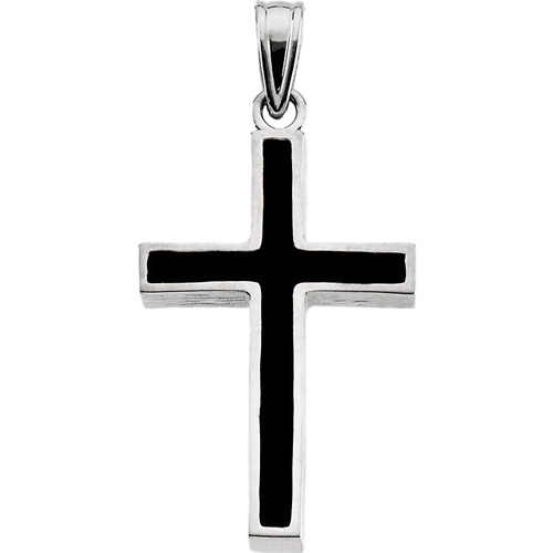 14kt White Gold Cross with Black Epoxy 30x20mm